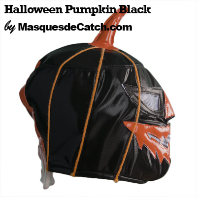 Halloween Pumpkin Black Mask Lucha Libre